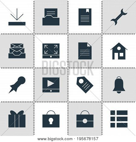 Vector Illustration Of 16 Web Icons. Editable Pack Of Portfolio, House, Upload And Other Elements.