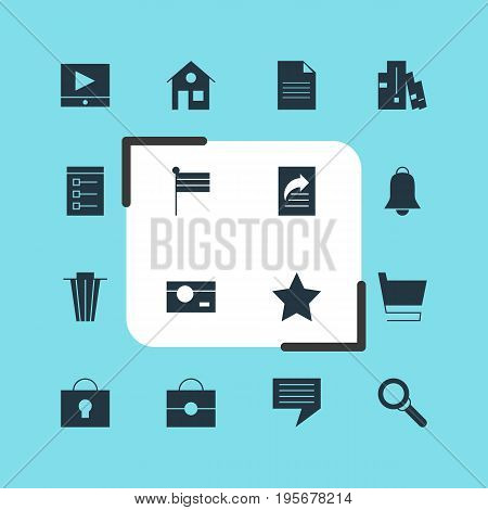 Vector Illustration Of 16 Internet Icons. Editable Pack Of House, Document Transfer, Portfolio And Other Elements.