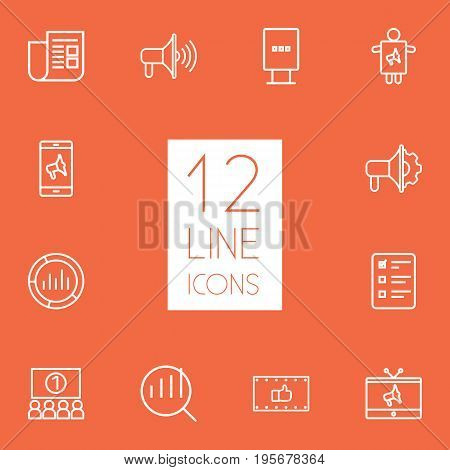 Set Of 12 Advertising Outline Icons Set.Collection Of Ad Banner, Newspaper, Worker And Other Elements.