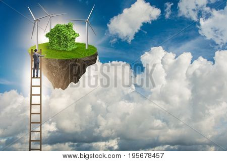 Man escaping to green environment