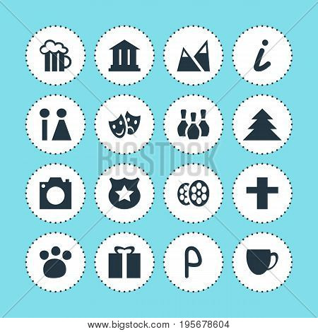 Vector Illustration Of 16 Map Icons. Editable Pack Of Cop, Film, Map Information And Other Elements.