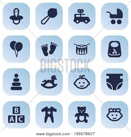 Set Of 16 Baby Icons Set.Collection Of Breastplate, Decoration, Nappy And Other Elements.