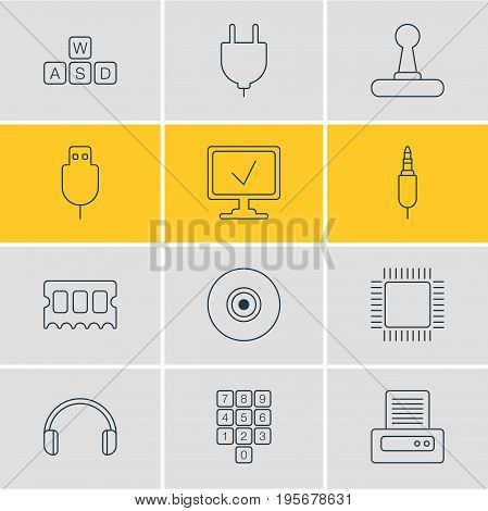 Vector Illustration Of 12 Notebook Icons. Editable Pack Of Serial Bus, Input Jack, Memory Chip And Other Elements.
