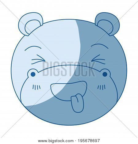 blue color shading silhouette cute face of hippo sticking out tongue expression vector illustration
