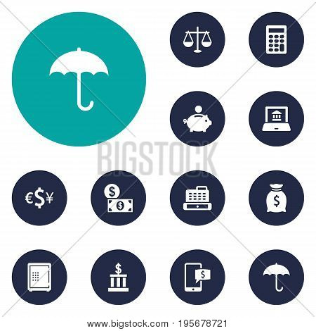 Set Of 12 Budget Icons Set.Collection Of Electron Report, Cashbox, Calculate And Other Elements.