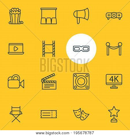 Vector Illustration Of 16 Film Icons. Editable Pack Of Spectacles, Coupon, Resolution And Other Elements.