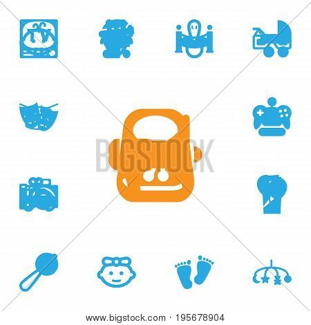 Set Of 13 Child Icons Set.Collection Of Barrel, Trace, Teat And Other Elements.