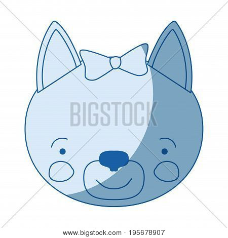 blue color shading silhouette face of female cat animal happiness expression with bow lace vector illustration