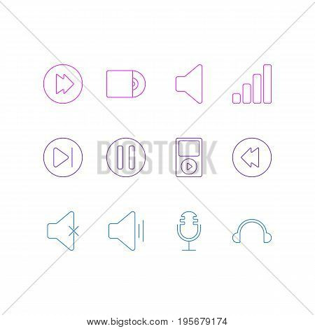 Vector Illustration Of 12 Music Icons. Editable Pack Of Mp3, Reversing, Soundless And Other Elements.
