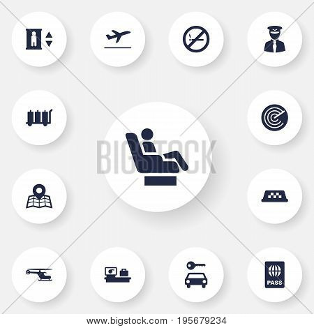 Set Of 13 Airplane Icons Set.Collection Of Cab, Leaving, Carriage And Other Elements.