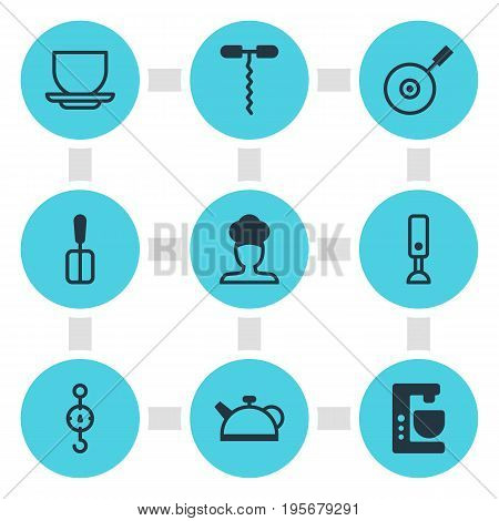 Vector Illustration Of 9 Kitchenware Icons. Editable Pack Of Teakettle, Wine Opener, Coffee Cup And Other Elements.