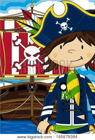 Cute Cartoon Pirate Captain with Pirates Ship