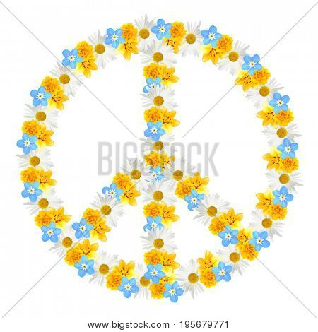 Peace symbol of beautiful flowers on white background