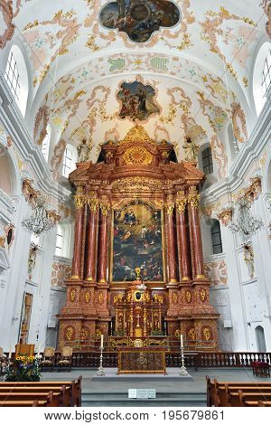 St. Leodegar Cathedral In Lucerne, Switzerland