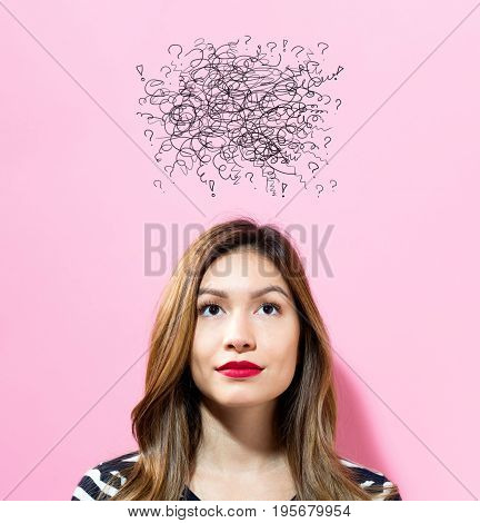 Doodle with young woman on a pink background