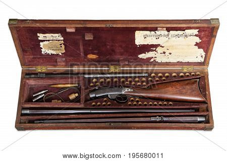 Antique velvet lined wooden Stock Rifle Box, with Ammo, and variable barrels gun