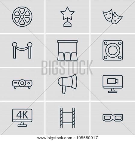 Vector Illustration Of 12 Cinema Icons. Editable Pack Of Movie Reel, Loudspeaker, Filmstrip And Other Elements.
