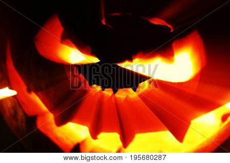 Glowing Halloween pumpkin with rays of light on black background