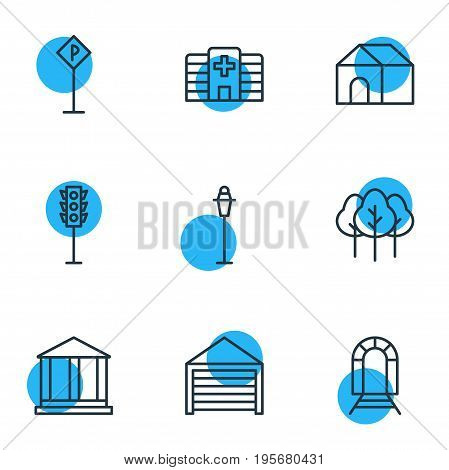 Vector Illustration Of 9 City Icons. Editable Pack Of Courthouse, Home, Clinic And Other Elements.