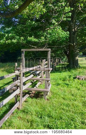 The fence and stile in the farm in New York