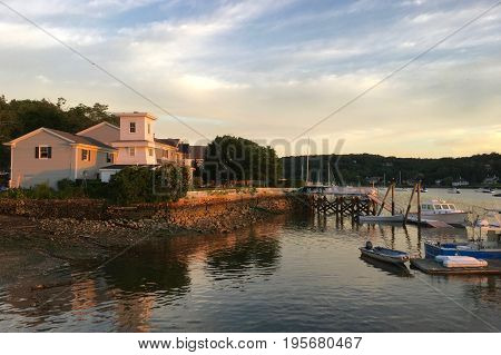 Sunset at Cold Spring Harbor in Huntington, NY