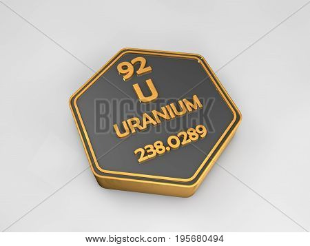 Uranium - U - chemical element periodic table hexagonal shape 3d render