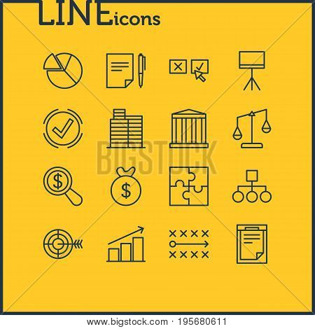 Vector Illustration Of 16 Business Icons. Editable Pack Of Building, Riddle, Columns And Other Elements.