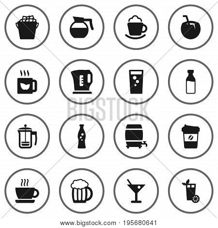 Set Of 16 Beverages Icons Set.Collection Of Cream, Fridge, Teapot And Other Elements.