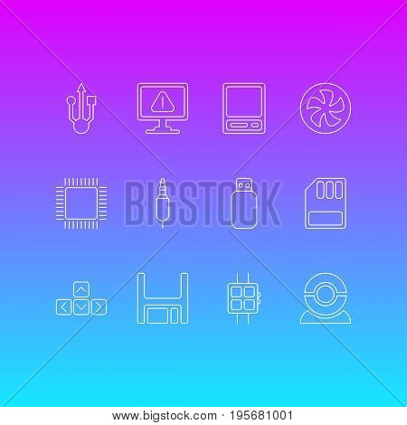 Vector Illustration Of 12 Notebook Icons. Editable Pack Of Keypad, Storage, Modern Watch And Other Elements.