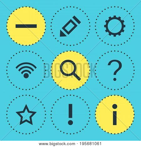 Vector Illustration Of 9 Member Icons. Editable Pack Of Info, Alert, Asterisk And Other Elements.