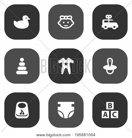 Set Of 9 Kid Icons Set.Collection Of Girl, Teat, Duck And Other Elements.