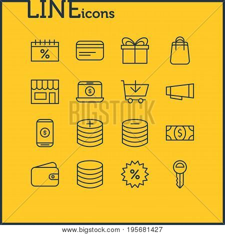 Vector Illustration Of 16 Trading Icons. Editable Pack Of Pocketbook, Coins, Advertising And Other Elements.