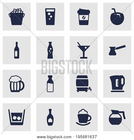 Set Of 16 Beverages Icons Set.Collection Of Mug, Cocktail, Martini And Other Elements.