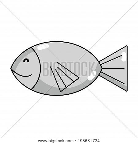 line fresh fish animal to preparation meal vector illustration