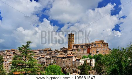 Panoramic view of the ancient medieval city of Sutri with Saint Mary of the Assumption cathedral at the top near Rome