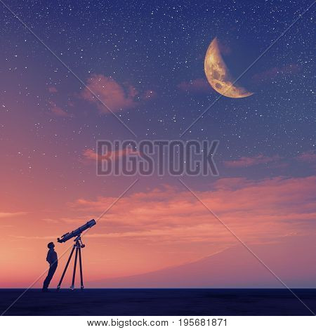 Man looks through a telescope at the moon. This is a 3d render illustration