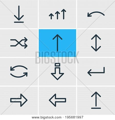 Vector Illustration Of 12 Arrows Icons. Editable Pack Of Right, Submit, Exchange And Other Elements.
