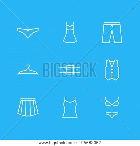 Vector Illustration Of 9 Dress Icons. Editable Pack Of Strap, Cloakroom, Swimsuit And Other Elements.