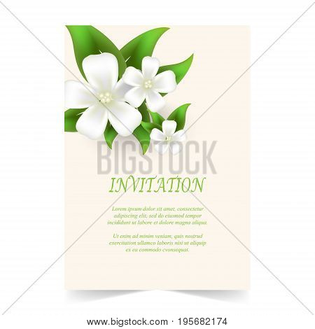 Invitation card wedding card with white flowers bouquet in spring time on ivory background