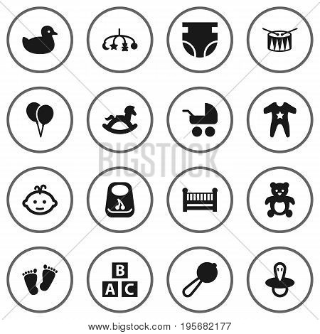 Set Of 16 Child Icons Set.Collection Of Pram, Decoration, Duck And Other Elements.