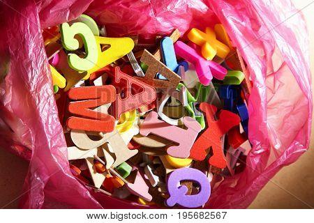 bag full of colorful alphabet
