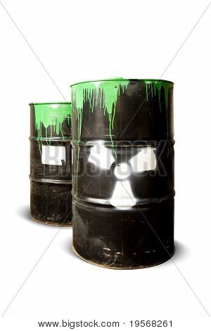 Toxic Drum Barrels Spilled Their Hazardous Content Isolated On White