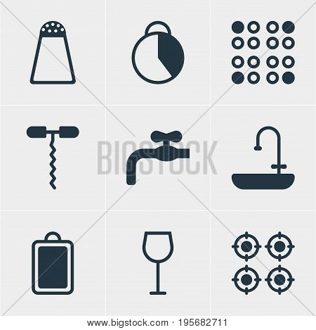 Vector Illustration Of 9 Restaurant Icons. Editable Pack Of Pepper Container, Furnace, Faucet And Other Elements.
