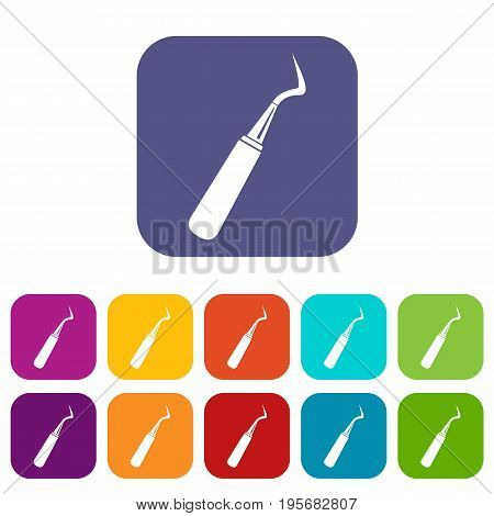 Dental probe icons set vector illustration in flat style In colors red, blue, green and other