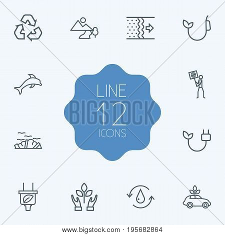 Set Of 12 Ecology Outline Icons Set.Collection Of Garbage, Plug, Fuel And Other Elements.