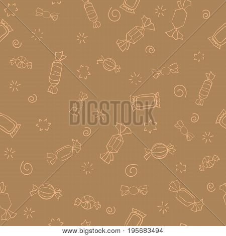 Seamless pattern of candy. Vector sweets background. Candy day. A light outline on a brown background. Seamless pattern with outline icons on a theme candy and sweets. Retro pattern.