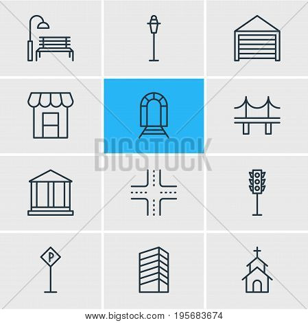 Vector Illustration Of 12 City Icons. Editable Pack Of Awning, Parking, Golden Gate And Other Elements.