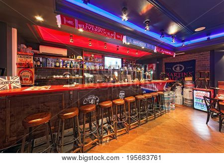 MOSCOW - AUGUST 2014: The interior is traditional British pub