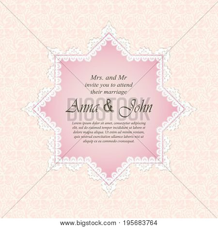 Invitation card Wedding card and lace frame on pink background