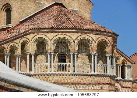 Romanesque colonnade of San Donato Church apse in the Island of Murano near Venice